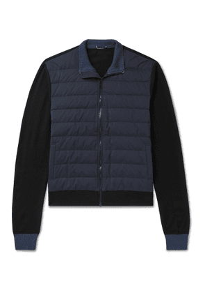 James Perse - Panelled Quilted Nylon and Wool-Blend Down Jacket - Men - Blue