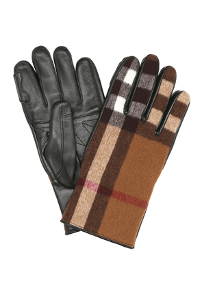 Checked wool and leather gloves