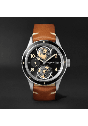Montblanc - 1858 Geosphere Automatic 42mm Stainless Steel, Ceramic and Leather Watch, Ref. No. 119286 - Men - Black
