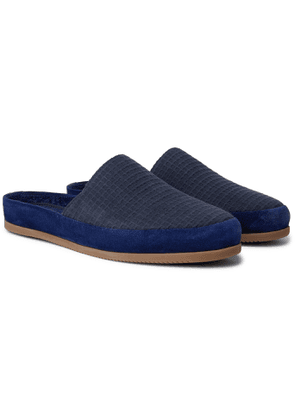 Mulo - Hamilton and Hare Suede-Trimmed Waffle-Knit Slippers - Men - Blue