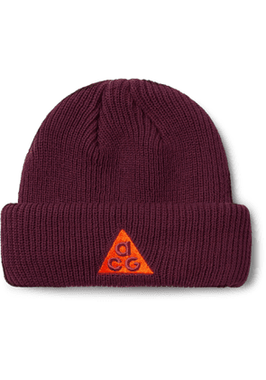 NIKE - ACG NRG Logo-Embroidered Appliquéd Ribbed-Knit Beanie - Men - Burgundy