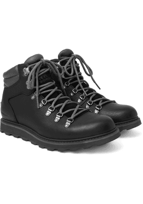 Sorel - Madison II Suede-Trimmed Textured-Leather Hiking Boots - Men - Black
