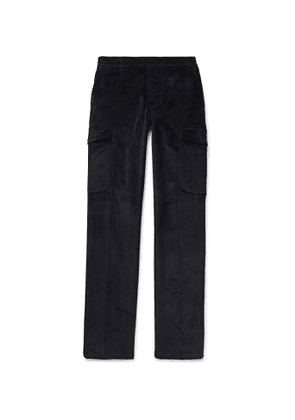 Thom Sweeney - Slim-Fit Tapered Stretch-Cotton Corduroy Cargo Trousers - Men - Blue