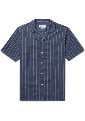 Turnbull & Asser - Camp-Collar Striped Linen Shirt - Men - Blue