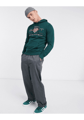 Gant archive embroidered shield logo hoodie in tartan green