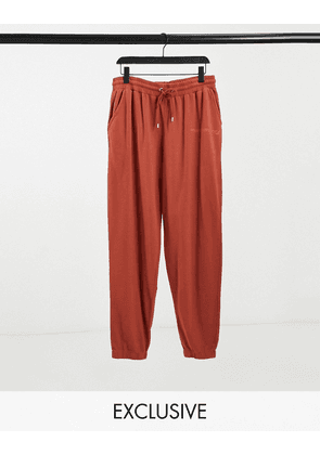 Reclaimed Vintage inspired unisex jogger with logo in burgundy