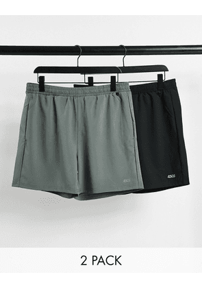 ASOS 4505 icon training shorts in mid length with quick dry 2 pack SAVE-Black