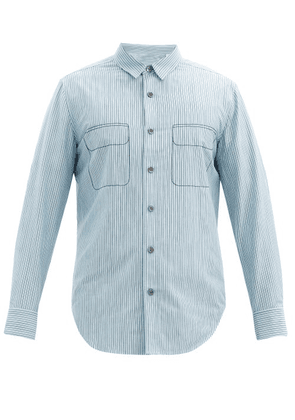 Equipment - Embroidered Striped Cotton-blend Poplin Shirt - Mens - Light Blue