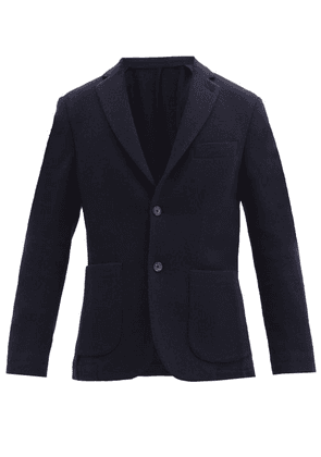 Thom Sweeney - Single-breasted Wool-blend Melton Blazer - Mens - Navy