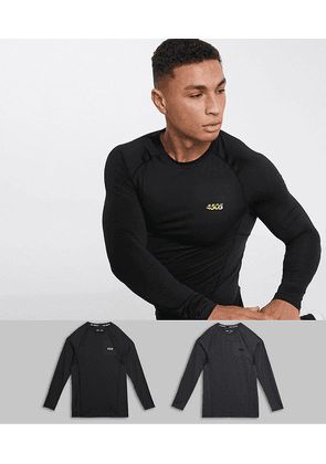 ASOS 4505 icon muscle training long sleeve t-shirt with quick dry 2 pack SAVE-Multi