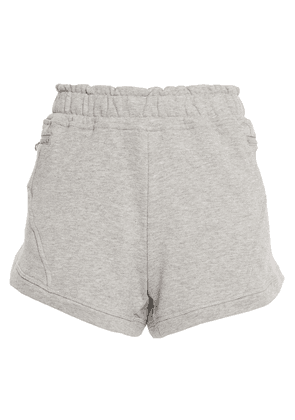 Adidas By Stella Mccartney Athletics Mélange French Cotton-terry Shorts Woman Light gray Size L