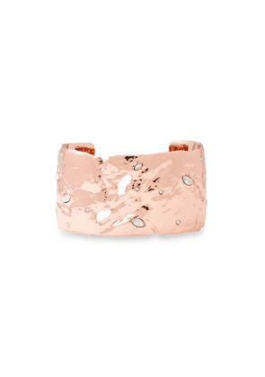 Alexis Bittar Hammered Rose Gold-tone Crystal Cuff Woman Rose Gold Size --