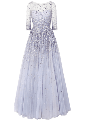 Jenny Packham Charisse Embellished Tulle Gown Woman Lavender Size 16