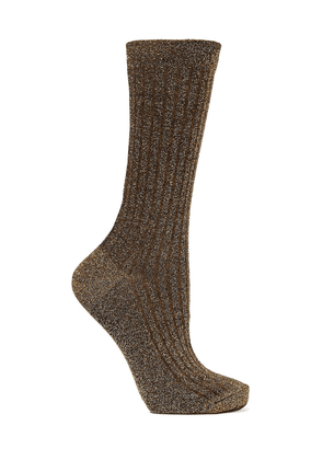Isabel Marant Lily Ribbed Metallic Knitted Socks Woman Gold Size ONESIZE