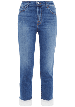 J Brand Ruby Cropped Frayed Mid-rise Skinny Jeans Woman Mid denim Size 25