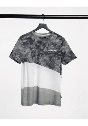 Burton Menswear t-shirts with floral and camo splice in grey