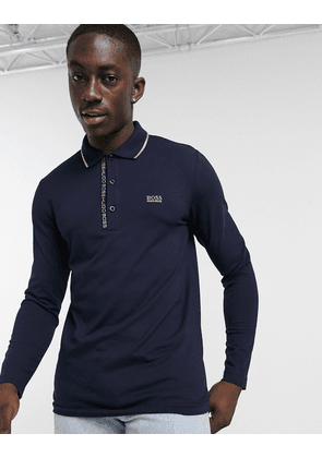 BOSS Athleisure Pleesy long sleeve tipped polo in navy