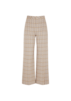 Rosetta Getty Checked Wide-leg Stretch-knit Trousers