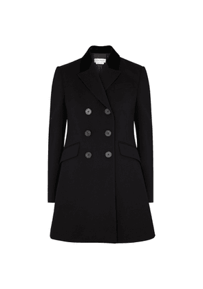 Alexander McQueen Black Double-breasted Wool And Silk-blend Coat