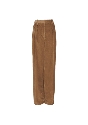THE ROW Chandler Brown Wide-leg Corduroy Trousers