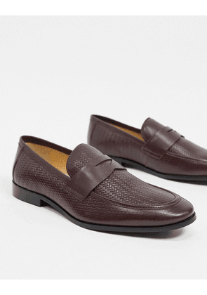 Dune embossed loafers in burgundy leather-Red