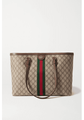 Gucci - Ophidia Medium Leather-trimmed Printed Coated-canvas Tote - Brown