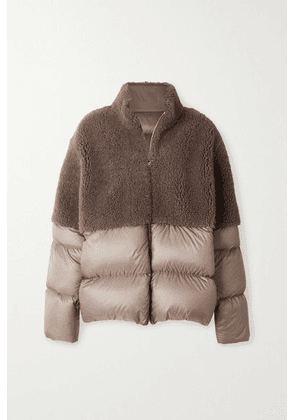 Moncler + Rick Owens - Coyote Shearling And Quilted Shell Down Jacket - Gray