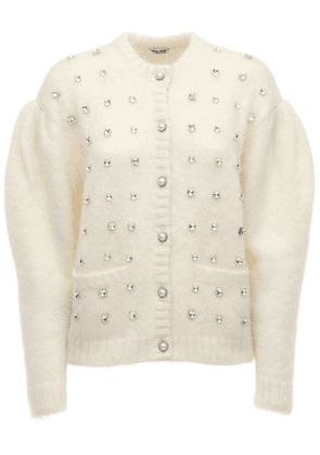 Mohair Blend Knit Cardigan W/ Crystals