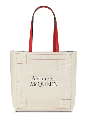 Printed Logo Leather Tote