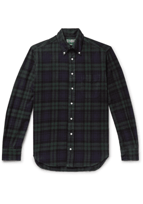 Gitman Vintage - Button-Down Collar Black Watch Checked Brushed Cotton-Flannel Shirt - Men - Blue