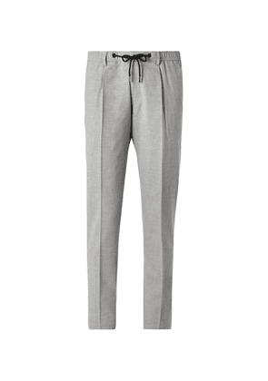Hugo Boss - Bardon Slim-Fit Tapered Melangé Woven Drawstring Suit Trousers - Men - Gray