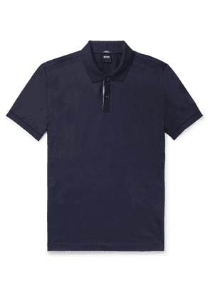 Hugo Boss - Slim-Fit Contrast-Tipped Cotton Polo Shirt - Men - Blue