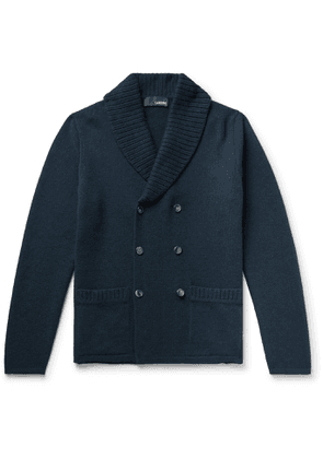 Lardini - Shawl-Collar Double-Breasted Alpaca-Blend Cardigan - Men - Blue