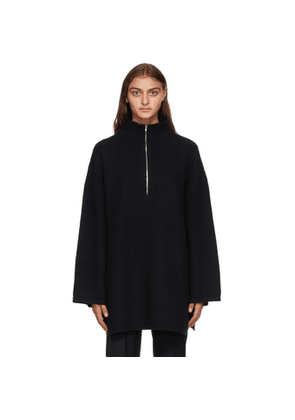 Toteme Black Wool Tomar Zip-Up Sweater