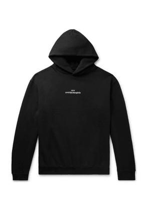 Maison Margiela - Logo-Embroidered Loopback Cotton-Jersey Hoodie - Men - Black