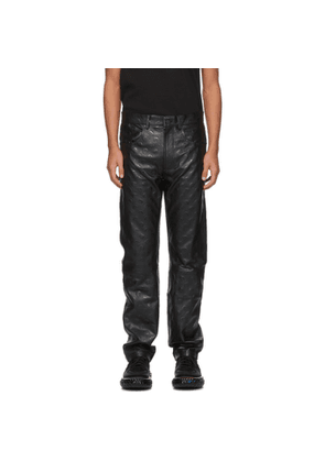 Marine Serre Black Leather Moon Pants
