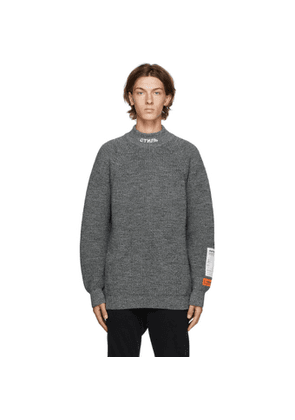 Heron Preston Grey Wool Chunky Knit Style Turtleneck