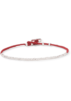 Mikia - Silver-Tone and Silk Beaded Bracelet - Men - Red