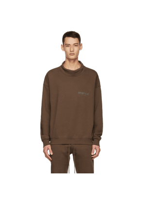Essentials SSENSE Exclusive Brown Logo Mock Neck Sweatshirt