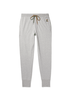 PAUL SMITH - Tapered Embroidered Loopback Cotton and Modal-Blend Jersey Sweatpants - Men - Gray