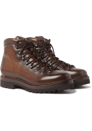 Ralph Lauren Purple Label - Fidel Burnished-Leather Boots - Men - Brown