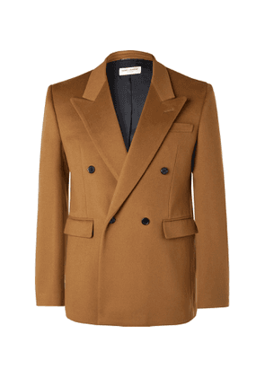 SAINT LAURENT - Double-Breasted Virgin Wool and Cashmere-Blend Blazer - Men - Brown