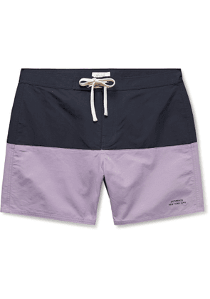 Saturdays NYC - Ennis Mid-Length Colour-Block Swim Shorts - Men - Blue
