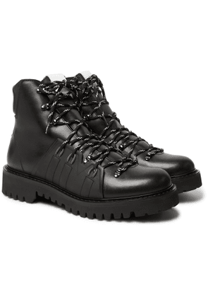 Valentino - Valentino Garavani Urgan Shearling-Lined Rubber-Trimmed Leather Boots - Men - Black