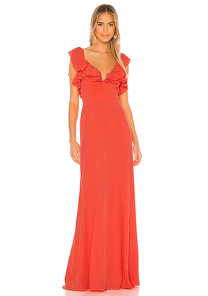 Lovers + Friends Mila Gown in Coral. Size XS, S, M, L.