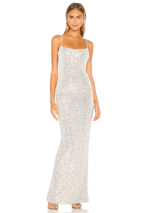 Nookie Lovers Nothings Sequin Gown in Metallic Silver. Size S, M, L.
