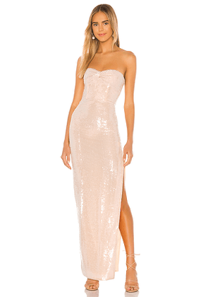 NBD Camden Strapless Gown in Metallic Neutral. Size XS, S, M.