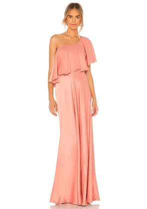 IORANE One Shoulder Gown in Coral. Size S, M, L.