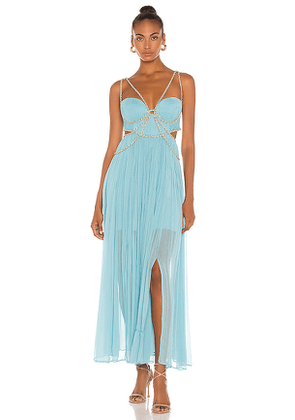 THURLEY Marilyn Maxi Dress in Blue. Size 8/S, 10/M, 12/L.