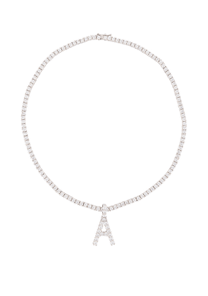 The M Jewelers NY Full Iced Out Letter Necklace in Metallic Silver. Size B, C, E, F, G, I, J, K, M, O, P, R.